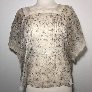 Anthropologie Willow & Clay Dragonfly Blouse Med